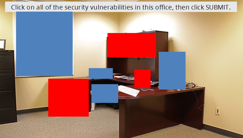Office with security hotspots highlighted