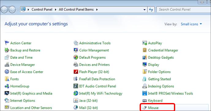 Control Panel > Mouse option