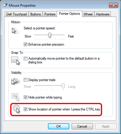 Pointer Options > Show location
