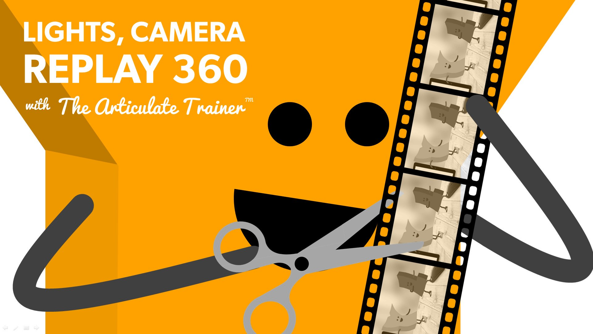 "The letter Y edits a video reel, alongside the verbiage: ""Lights, Camera, Replay 360"""