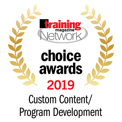 Surrounded by shining gold branches, Training Magazine Network Choice Awards 2019 Custom Content/Program Development