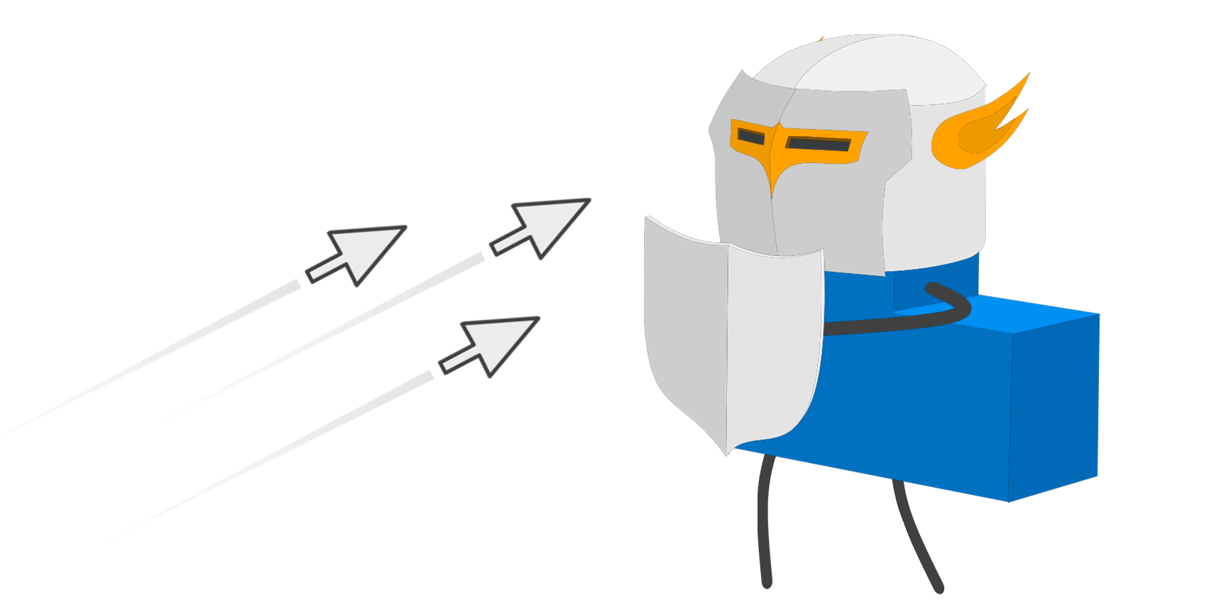 The letter L, dressed as a knight in shining armor, fends off clicking mouse cursors.