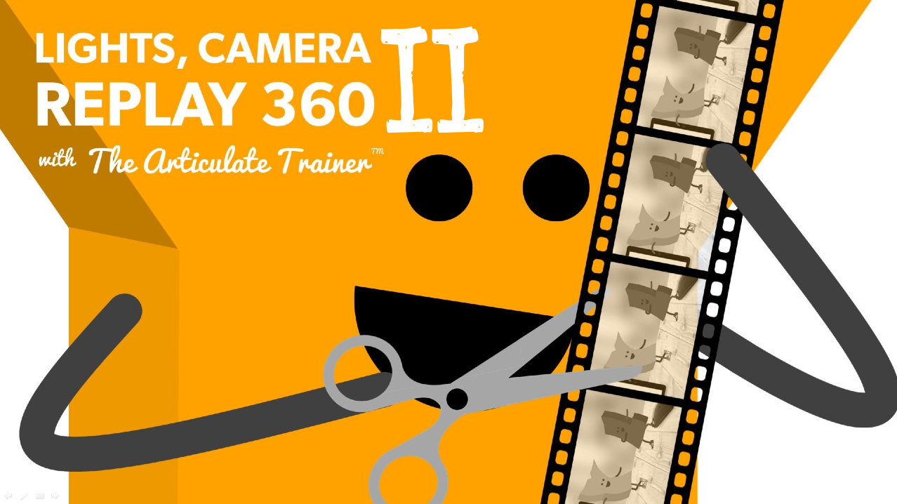 """The letter Y edits a video reel, alongside the verbiage: Lights, Camera, Replay 360 """"2"""""""